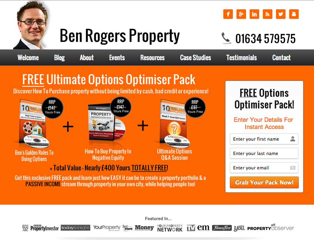 Our client ben rogers newly designed website