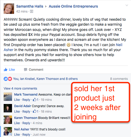 Samantha Sold Her First Product 5 Hours After Putting It Up!